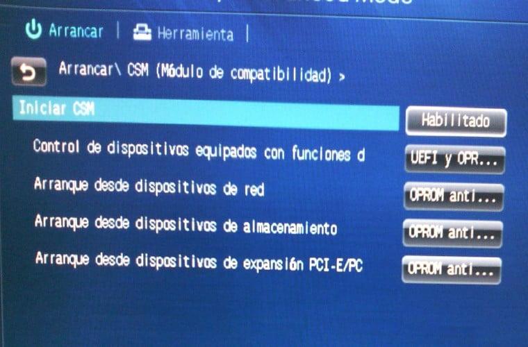 Módulos de soporte de compatibilidad de la Interfaz de Firmware Extensible Unificada UEFI.